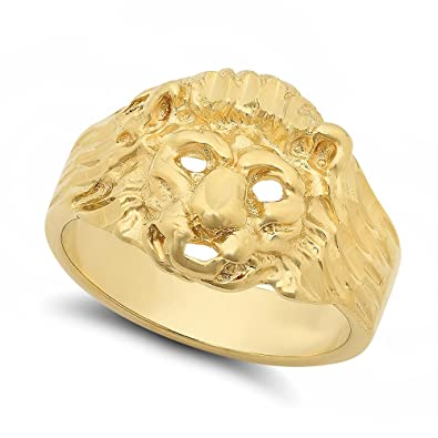 19mm 14k Gold Plated Three Dimensional Lion Head w Mane Ring