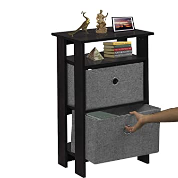 Klaxon Orchid Side Table with 2 Fabric Drawer Chest - Black & Grey
