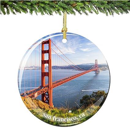 "San Francisco Golden Gate Bridge Christmas Ornament, Porcelain 2.75""  Double Sided California Christmas Ornaments - Amazon.com: San Francisco Golden Gate Bridge Christmas Ornament"