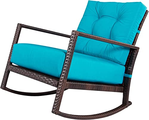 SUNCROWN Outdoor Furniture Patio Rocking Chair All-Weather Wicker Seat