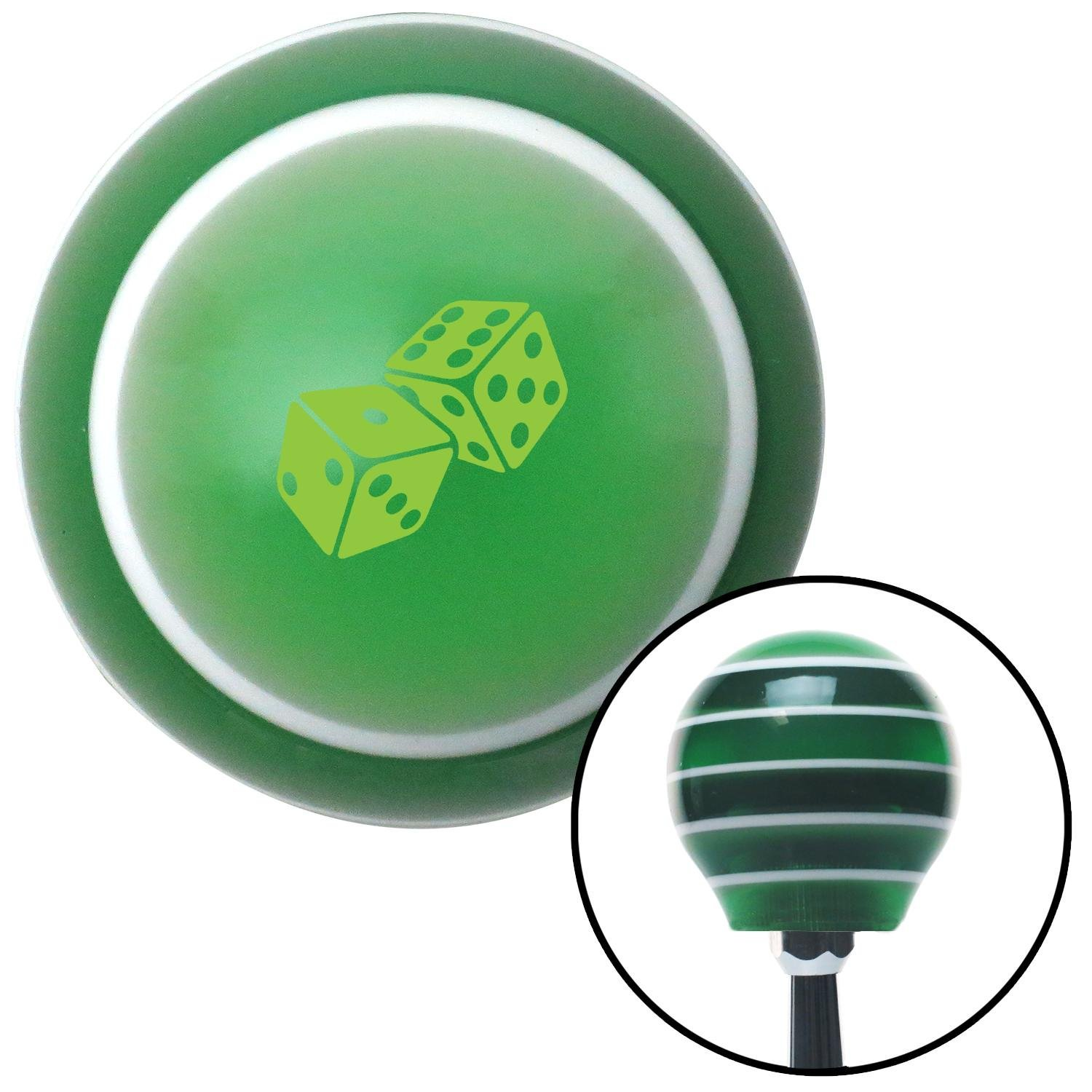 Green Set of Dice Green Stripe with M16 x 1.5 Insert American Shifter 275020 Shift Knob