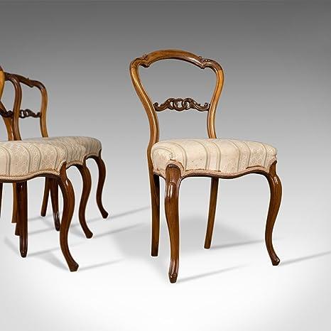 antico set di quattro sedie per sala da pranzo, inglese, stile ...