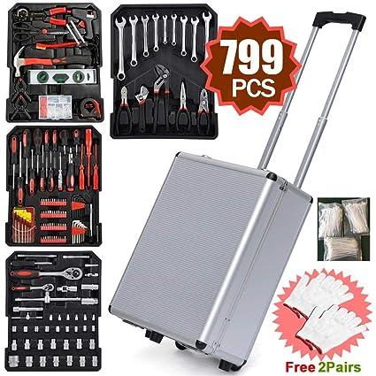Caja de herramientas con 799 herramientas, tipo maleta de ruedas, para proyectos de bricolaje