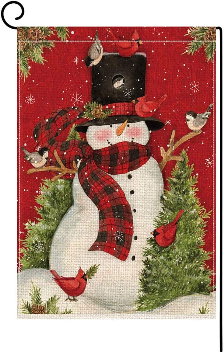 Christmas Garden Flag Vertical Double Sized, Snowman with Red Scarf Winter Holiday Christmas Burlap Yard Outdoor Decoration, 12.5 x 18 Inch