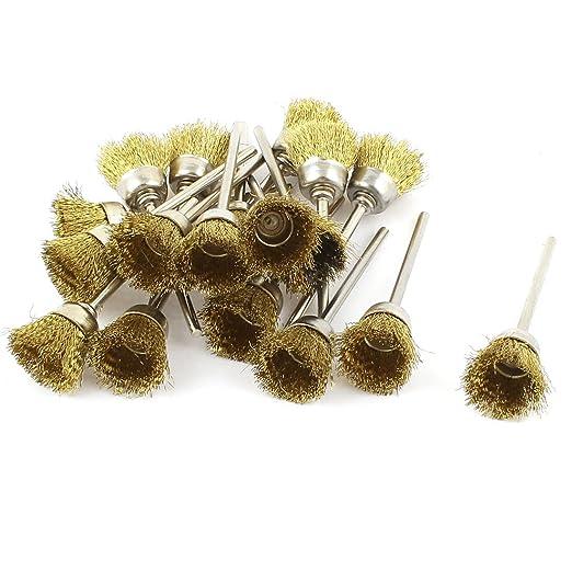 18 Pcs 2.3mm Shank 15mm Cup Shape Brass Wire Polishing Brush