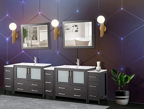 Vanity Art 108 Inch Double Sink Modern Bathroom Vanity Compact Set 2 Shelves 13 Drawers Ceramic Top Under-Mount Sink Bathroom Cabinet