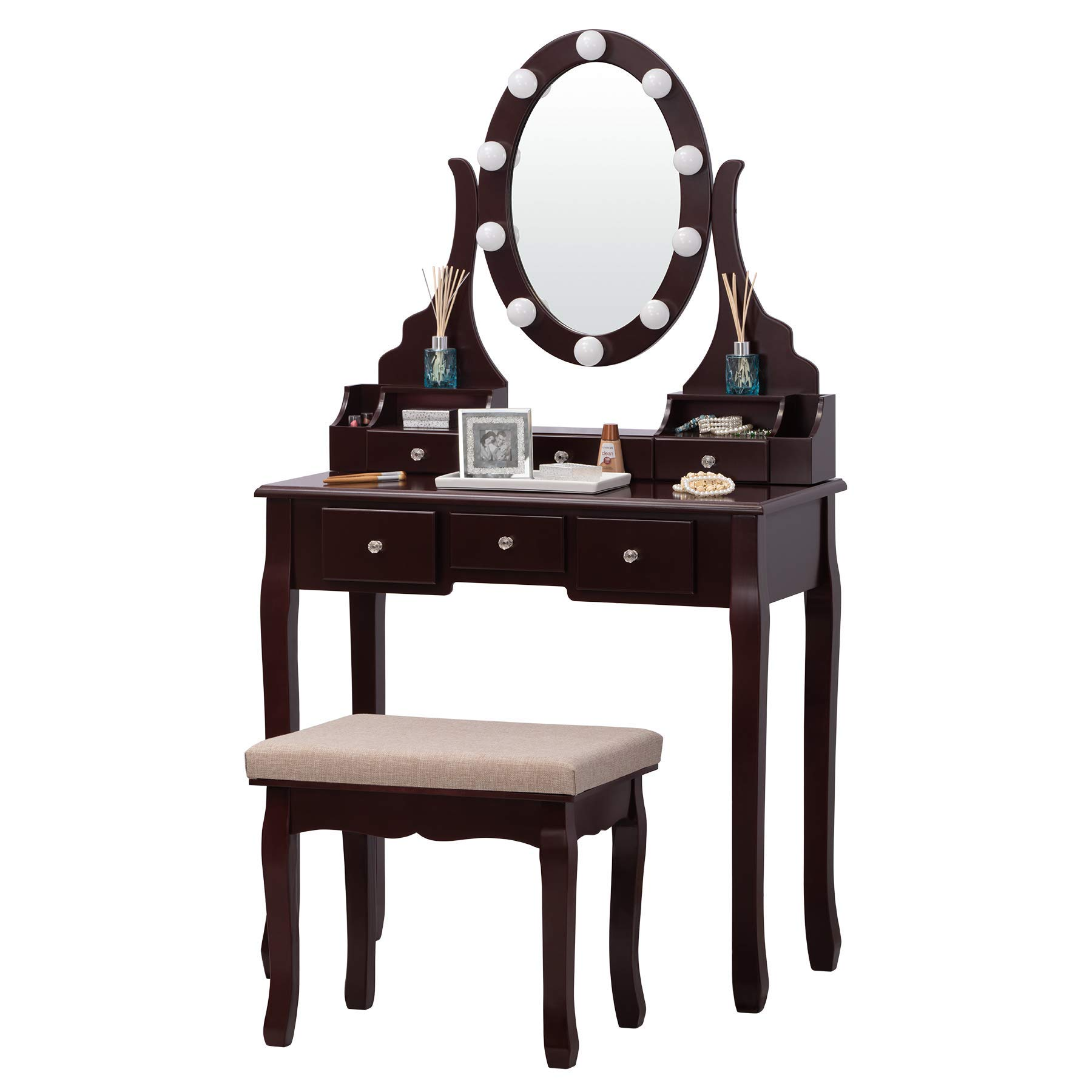 Fineboard FB-VT30-BN Vanity Table Set with LED Lights Mirror and Stool with 6 Drawers, Brown