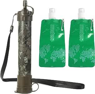 Filtro de Agua Portátil + 2 Bolsas de Agua de 480ML sin BPA ...