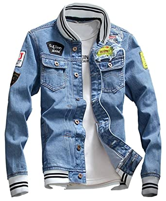 8b7332f4aac KAMUON Men s Denim Jacket Casual Slim Fit Jean Collage Varsity Baseball  Jacket at Amazon Men s Clothing store