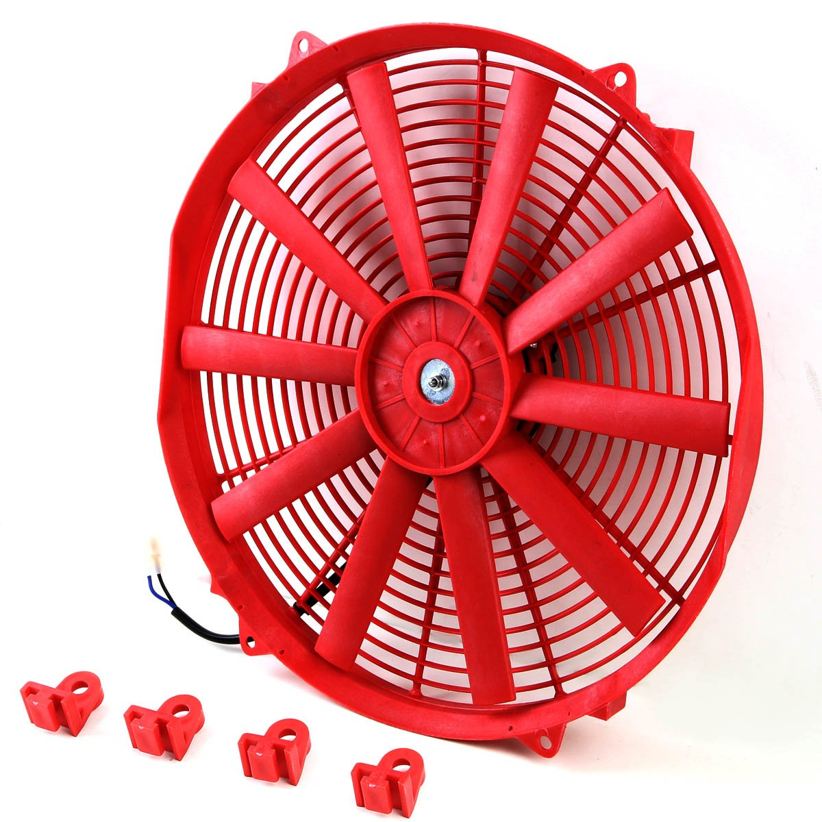 (Pack of 2) 16 Inch High Performance 12V Electric Slim Radiator Cooling Fan w/Mounting Kit - Red by Auto Dynasty (Image #3)