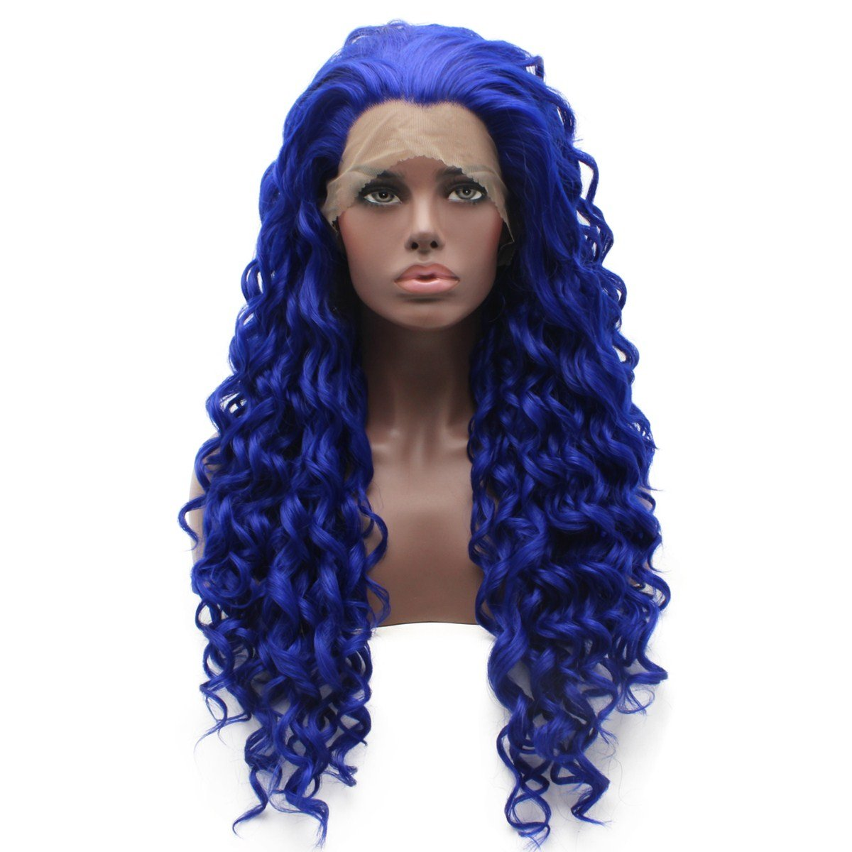 Iewig Long Curly Blue Heat Resistant Wig Half Hand Tied Synthetic Hair Front Lace Wig