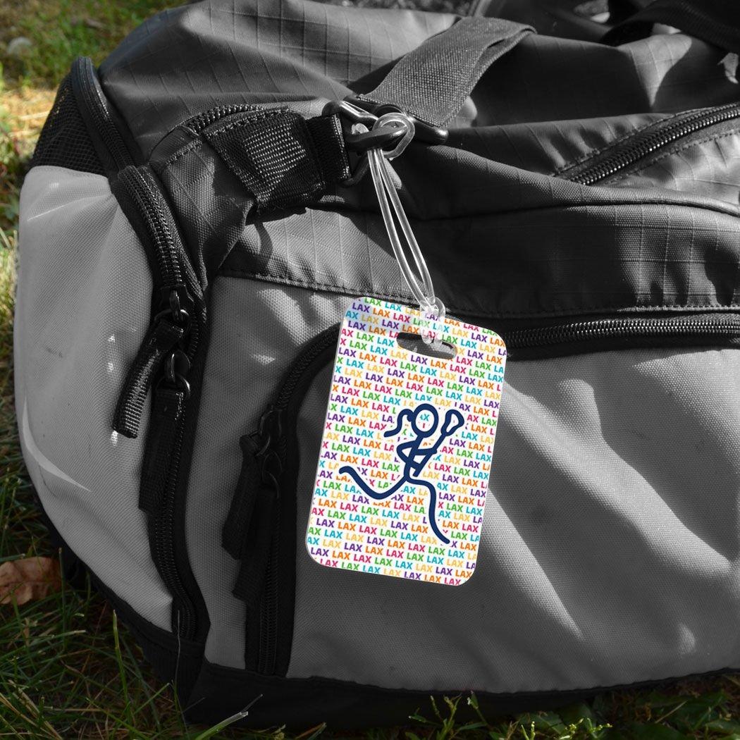 Girls Lacrosse Luggage /& Bag Tag Female Lacrosse Stick Figure Lax Pattern MEDIUM Custom Info on Back WHITE