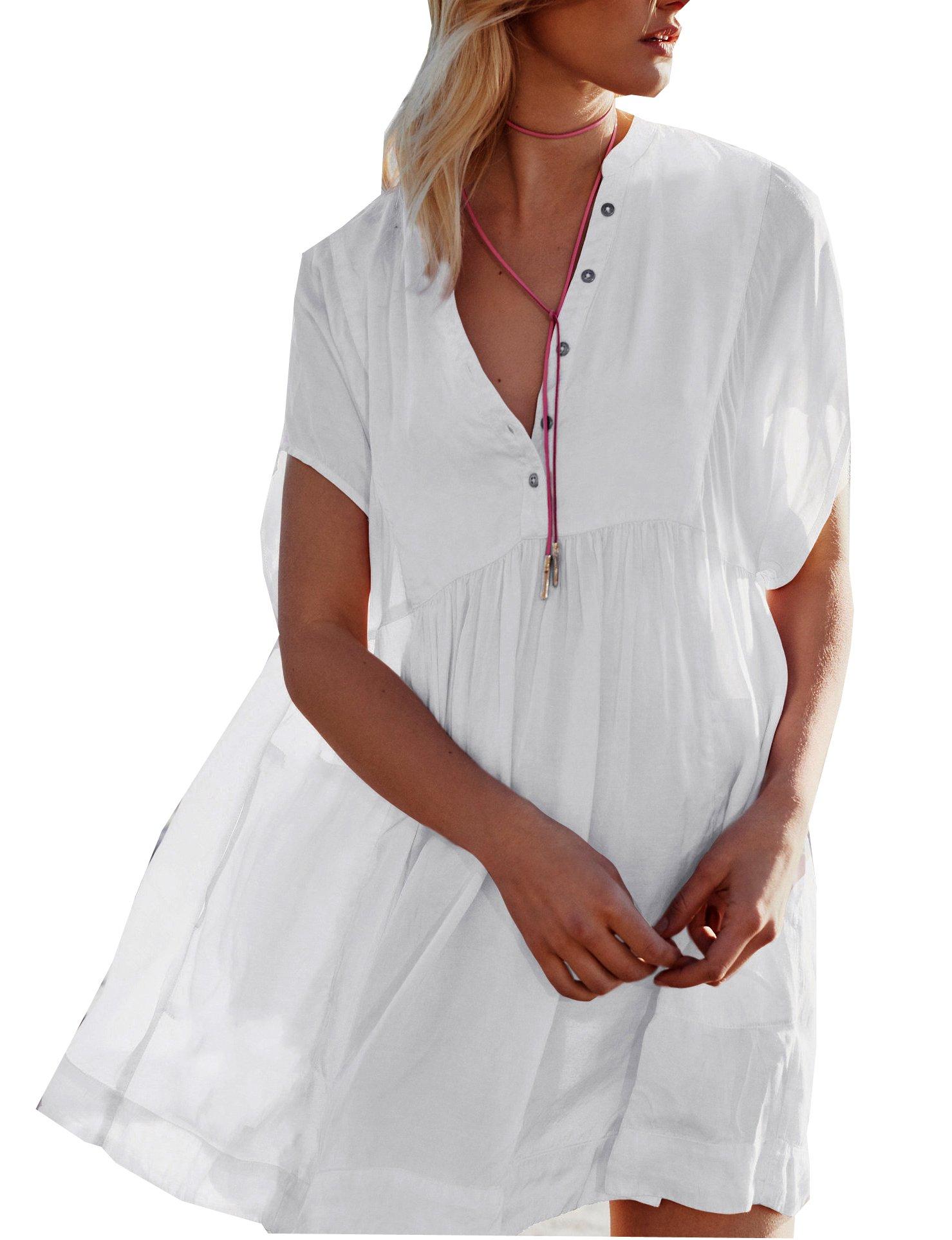 Wander Agio Cover up Beach Swimsuit V-Neck Bikini Covers Swimwear for Women Button White