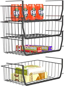 Stackable Under Shelf Basket, iSPECLE Stackable Wire Storage Basket 4 Pack Save Space Hanging Baskets for Storage Pantry Organization, Easy to Install
