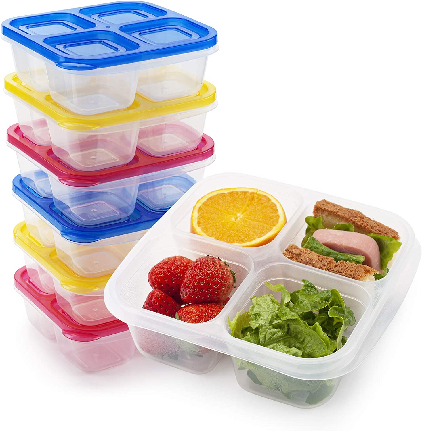 Freshmage Bento Snack Food Containers, Set of 6 Reusable 4 Compartments Leakproof Food Meal Prep Containers for School and Work