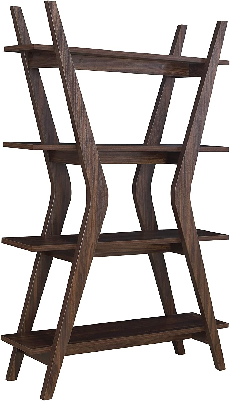 "Coaster Home Furnishings 4-Tier Bookcase Dark Walnut Brown/Modern, 47.25"" d x 14.25"" w x 70.75"" h"