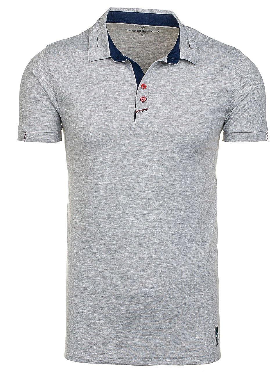 BOLF Hombre Camiseta Polo Con Manga Corta ZAZZONI 1058 Gris L [3C3 ...