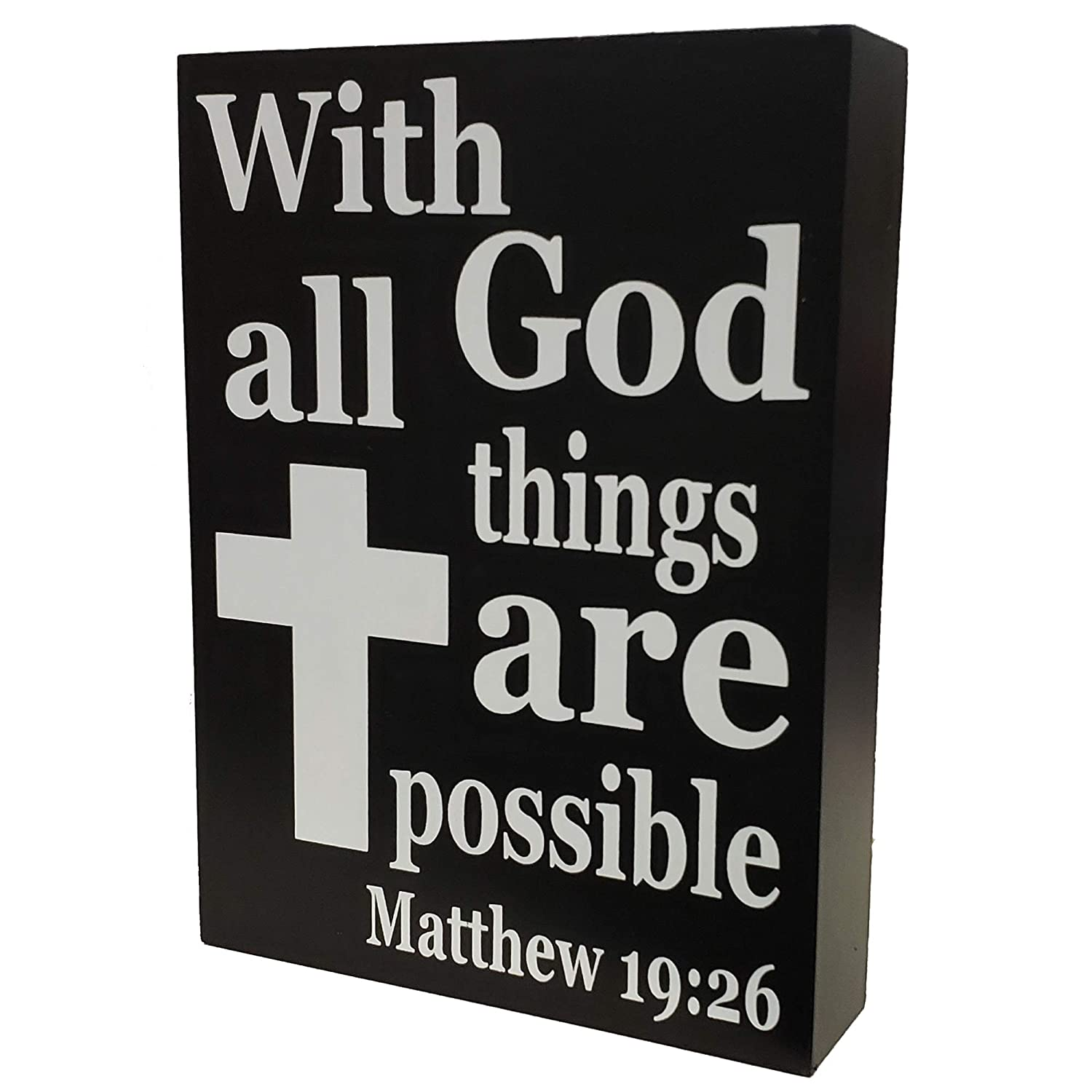 JennyGems - with God All Things are Possible Matthew 19:26 - Home Decor  Religion Signage - Christian Gifts and Verses - Christian Wall Decor -  Bible