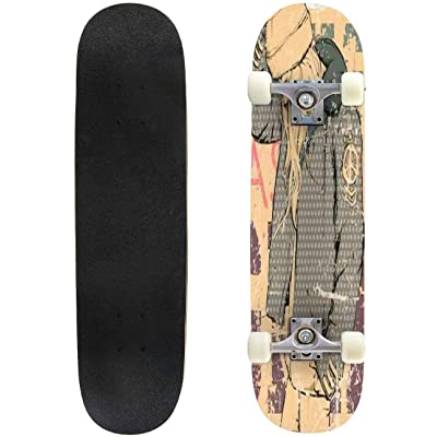 Classic Concave Skateboard Young Girl in Sketch Style on a Grunge Background Vector Illustration Longboard Maple Deck Extreme Sports and Outdoors Double Kick Trick for Beginners and Professionals : Sports & Outdoors