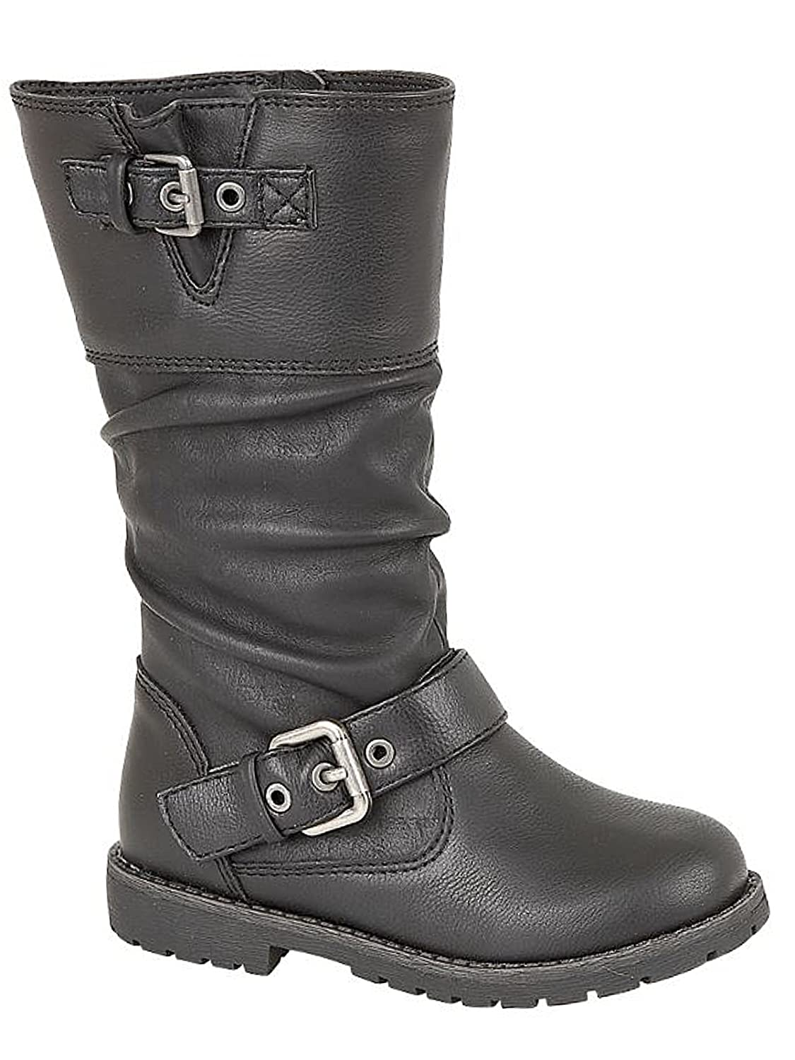 Foster Footwear Girls Infant Kids Faux Leather Black Ankle Riding Biker Zip  Fastening Boots Shoes Size 8-3 (UK 8 Infant, Black/Butterfly):  Amazon.co.uk: ...