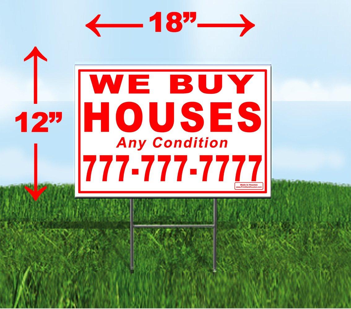Custom We Buy Houses - 100 Red 12''x18'' Yard Signs