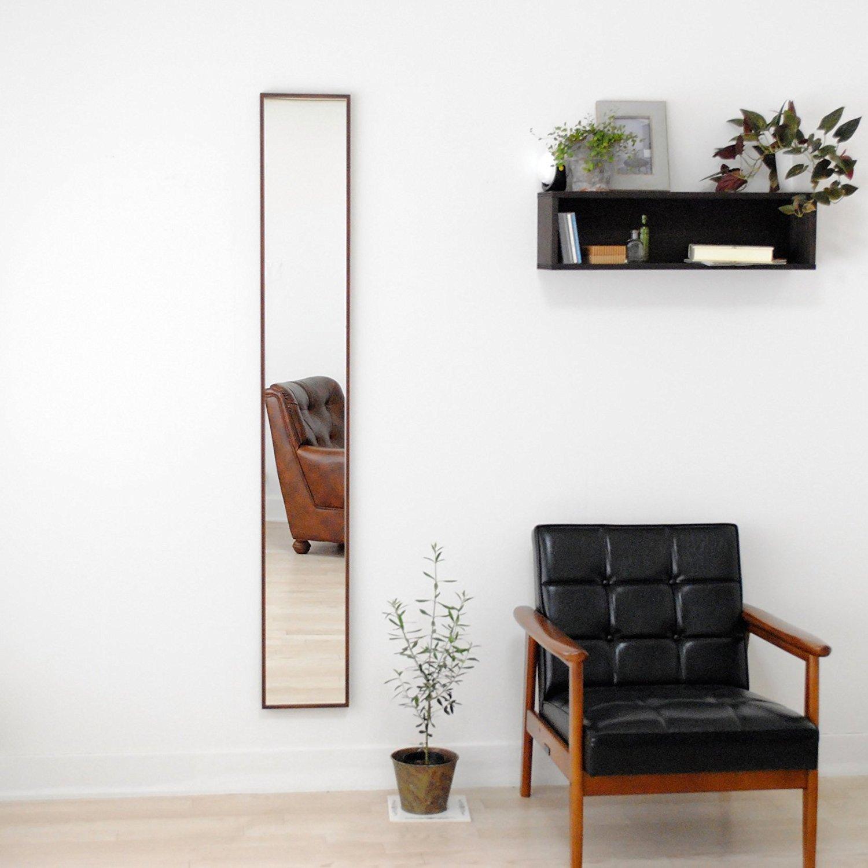 SENNOKI 細枠 全身 鏡 姿見 壁掛け ウォールミラー ブラウン 日本製 22cm×153cm B071Z799P5 ブラウン ブラウン