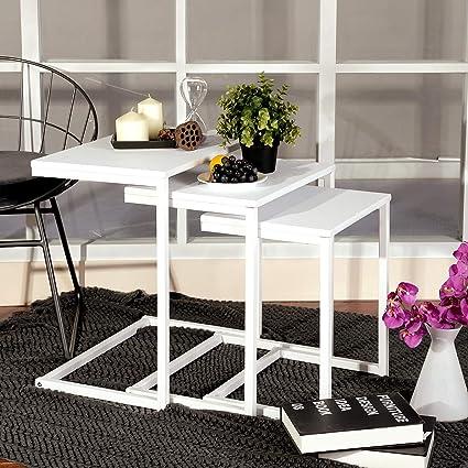 bc1cda7c8c2b5 Amazon.com  Aingoo Nesting Coffee Table Set of 3 Small Sofa Table Modern  End Side Table for Living Room …  Kitchen   Dining