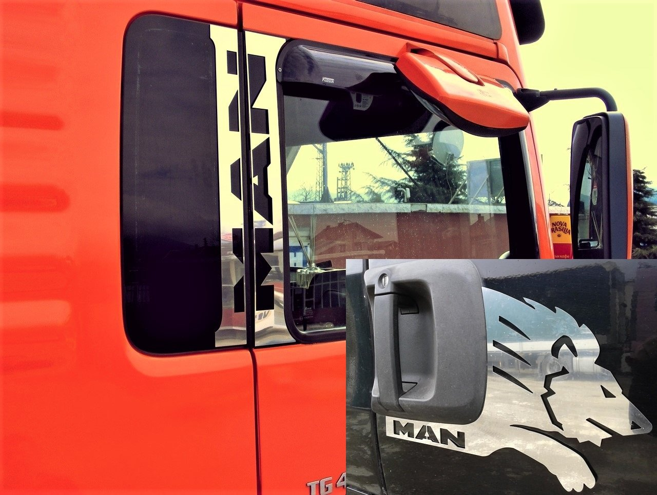 6 pezzi in acciaio INOX lucido finestra + Door panel Decorations Lion per Man Tga Tgl TGS TGX Trucks ES022006