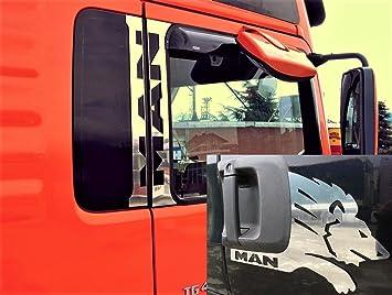 Juego de 6 piezas de ventanas de acero inoxidable pulido + paneles de puerta decoraciones Lion para camiones MAN TGA TGL TGS TGX: Amazon.es: Coche y moto