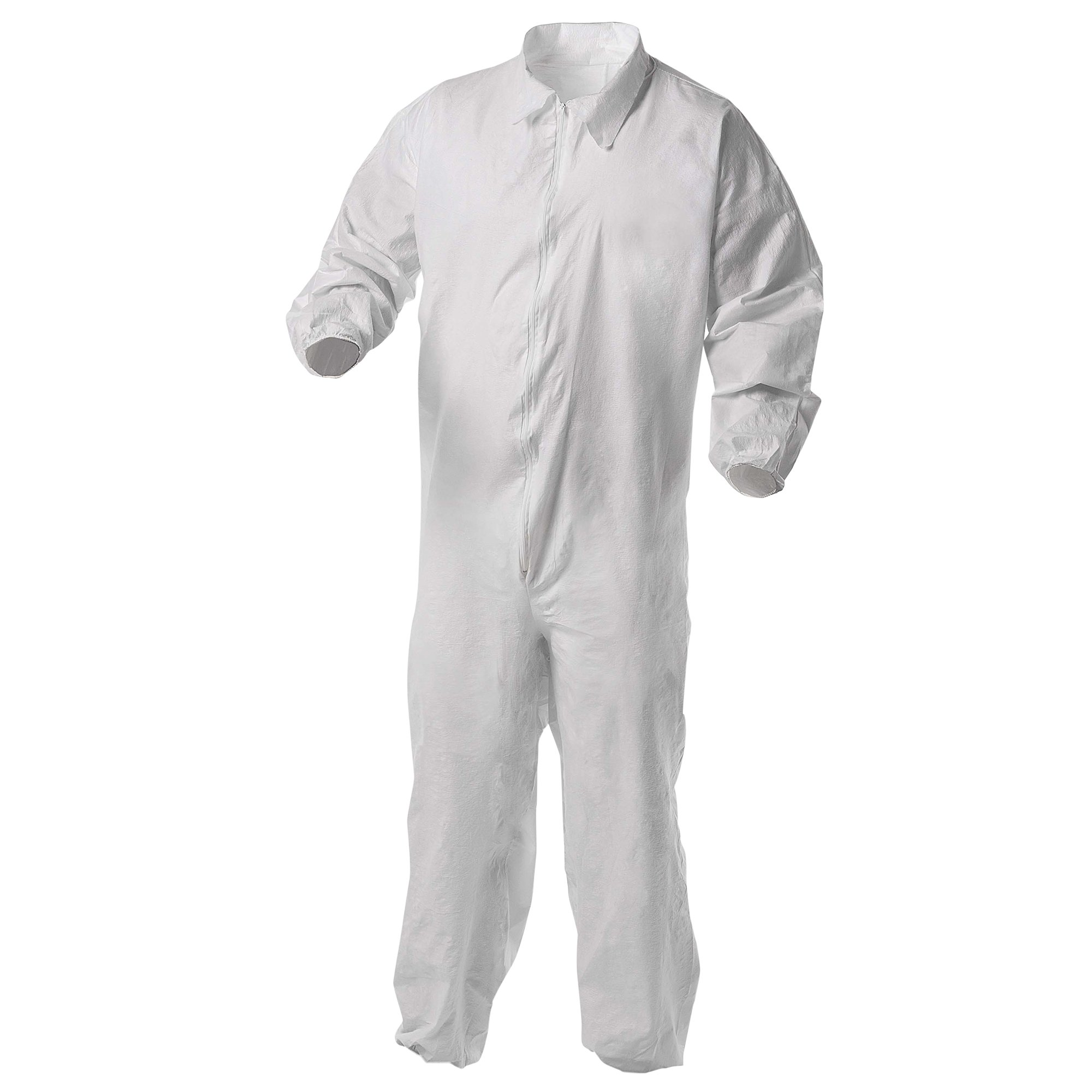 Kleenguard A35 Disposable Coveralls (38929), Liquid and Particle Protection, Zip Front, Elastic Wrists & Ankles (EWA), White, XL, 25 Garments / Case