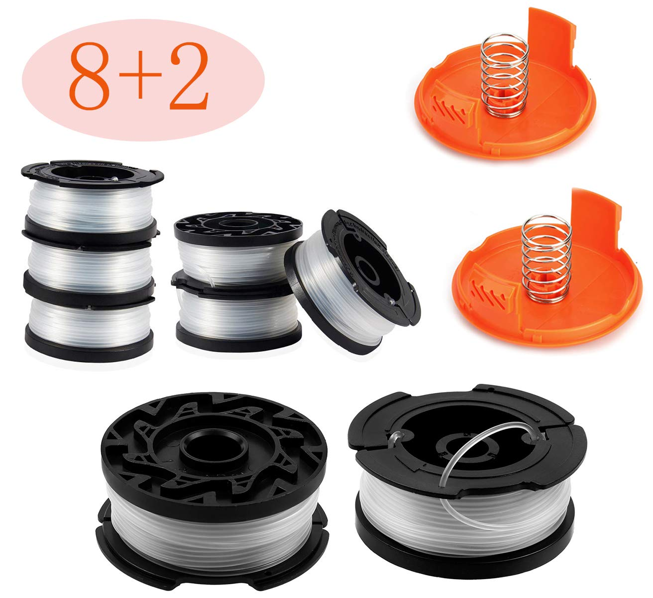 30ft 0.065'' Line String Trimmer Replacement Spool - Autofeed Trimmer Line Spool,10-Pack Compatible with Black+Decker AF-100-3ZP Weed Eater String Trimmers ( 8 Replacement Line Spool,2 Trimmer Cap)