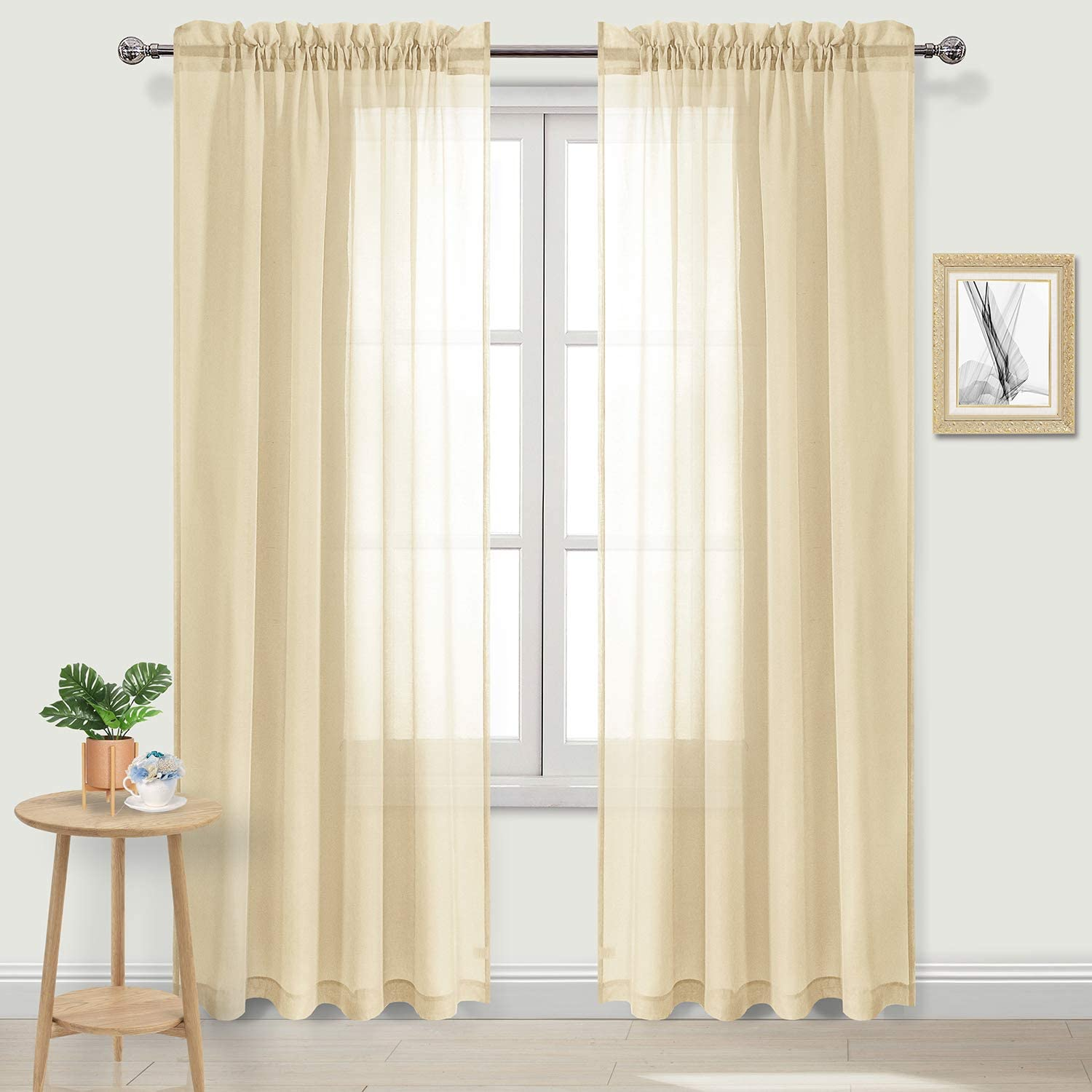 Amazon Com Dwcn Beige Sheer Curtains Semi Transparent Voile Rod Pocket Curtains For Bedroom And Living Room 52 X 90 Inches Long Set Of 2 Panels Home Kitchen