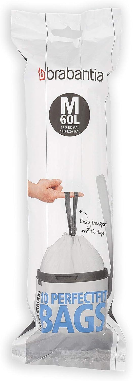 Brabantia 115608 Spenderpackung PerfectFit M/üllbeutel Code J 20-25 Liter Plastik Wei/ß 40 St/ück