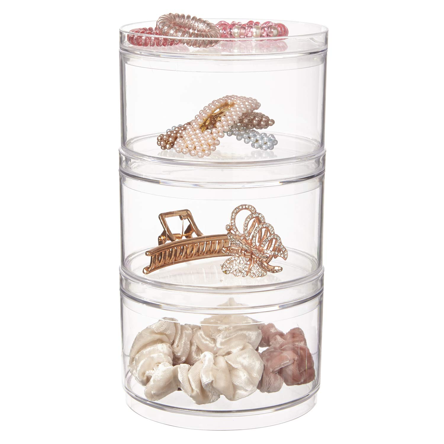 Stackable Clear Plastic Hair Accessory Containers with Lids   set of 3