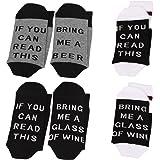 N Newland IF YOU CAN READ THIS Fun Wine Socks, 3 Pack,Für Frauen Männer Baumwolle Lustige Crew Socken Neuheit Funky Nette Spiel Wein Party Strumpfwaren