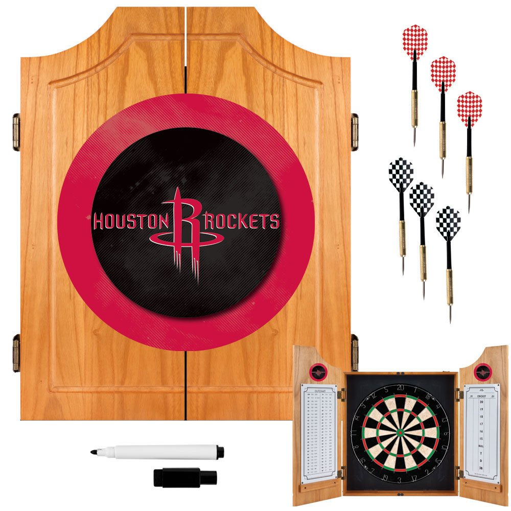 Trademark Gameroom NBA Houston Rockets Wood Dart Cabinet Set by Trademark Gameroom