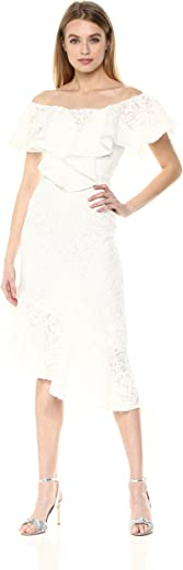 C/MEO COLLECTIVE Women's More to GIVE Off Shoulder LACE MIDI Dress, ivory, M