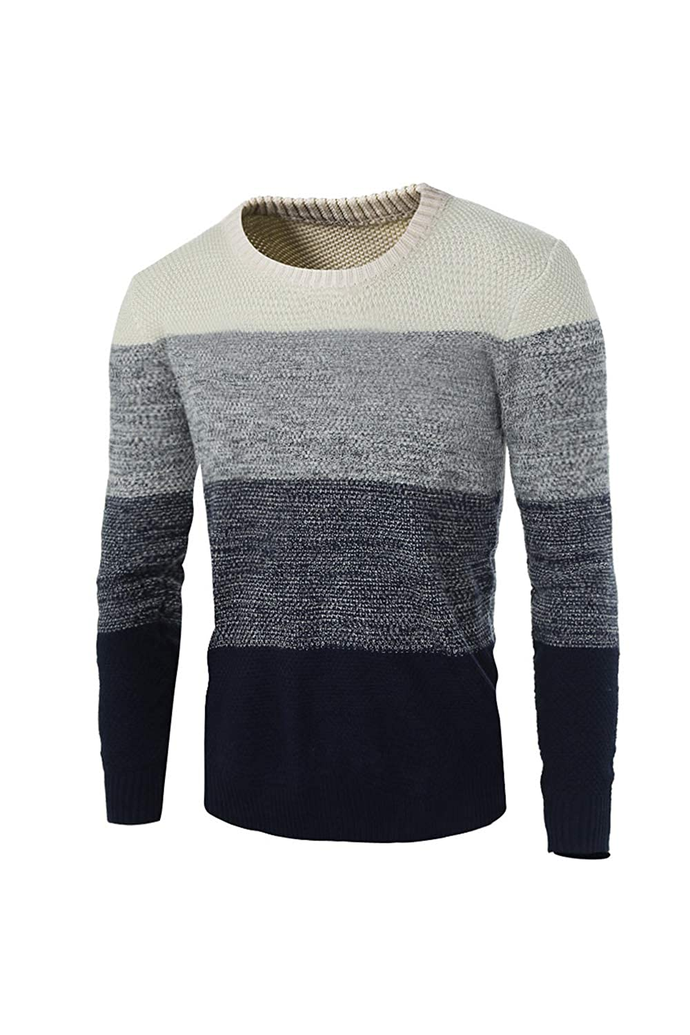 Simgahuva Mens Crewneck Sweater Knitted Colorblock Long Sleeve Pullover