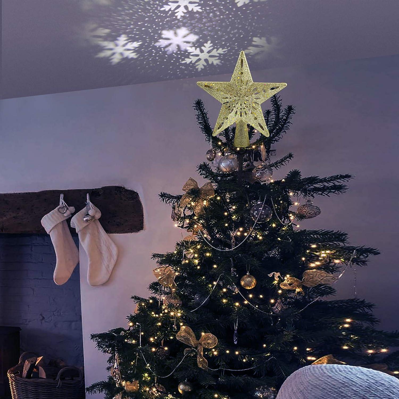 Heimkino Feiertag Sterne Schnee Projektor Licht Spielzimmer Innendekoration Party Geschenk- Golden Weihnachten Delicacy Weihnachtsbaum Topper Projektor Xmas LED Sterne Schneeflocke Projektor