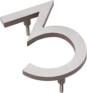 """product image for Montague Metal Products MHN-04-3-F-SD2 Solid Brushed Aluminum Modern Floating Address House Numbers, 4"""", Satin Nickel Powder Coated Sand Two-Tone"""