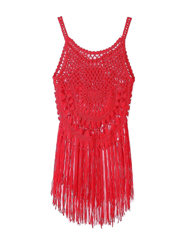 8ff475bc07 CXINS Womens Sexy Lace Bathing Suit Handmade Crochet Tassel Bikini Cover up  Swimwear Summer Beach Dress