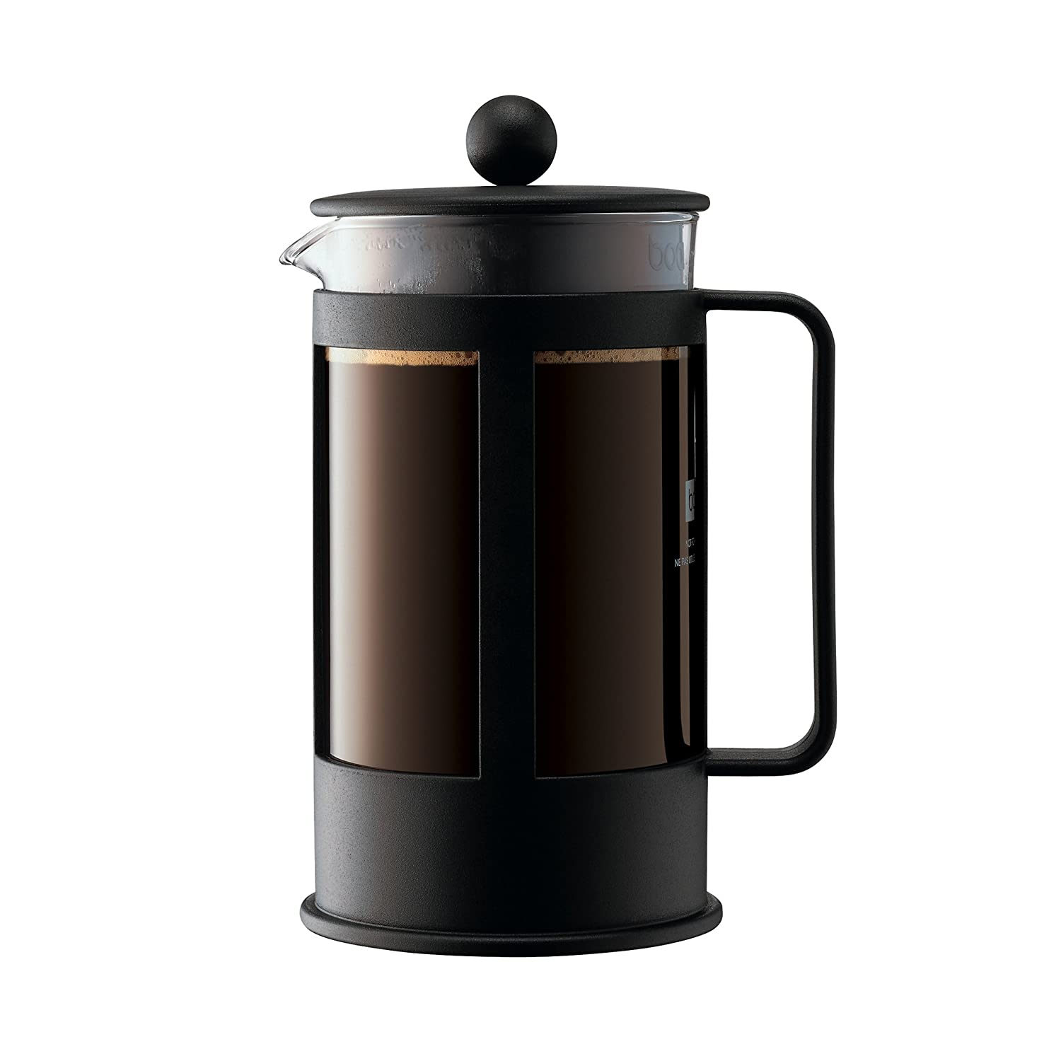 Bodum Kenya French Press Coffee Maker, Borosilicate Glass - 8-Cup (1 L), Black 1978-01