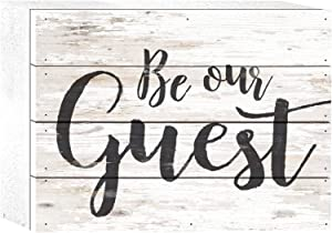 P. Graham Dunn Be Our Guest Script Whitewash 8 x 6 Solid Wood Boxed Pallet Plaque Sign