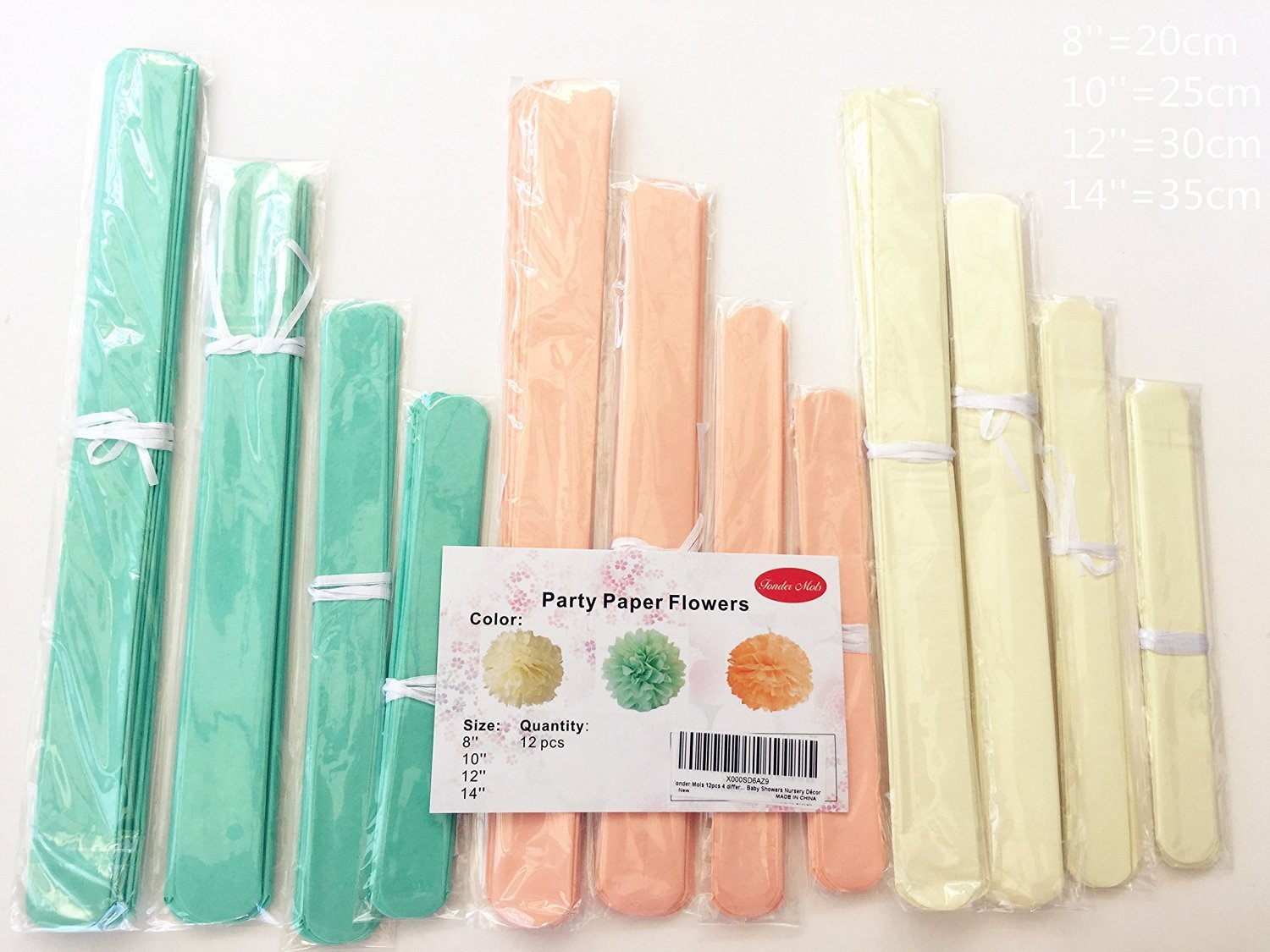 Fonder Mols 12pcs Large Sizes 8'' 10'' 12'' 14'' Ivory Peach Mint Party Tissue Pom Poms Flowers Decorations for Weddings, Birthday, Bridal, Baby Showers Nursery Wall Decor