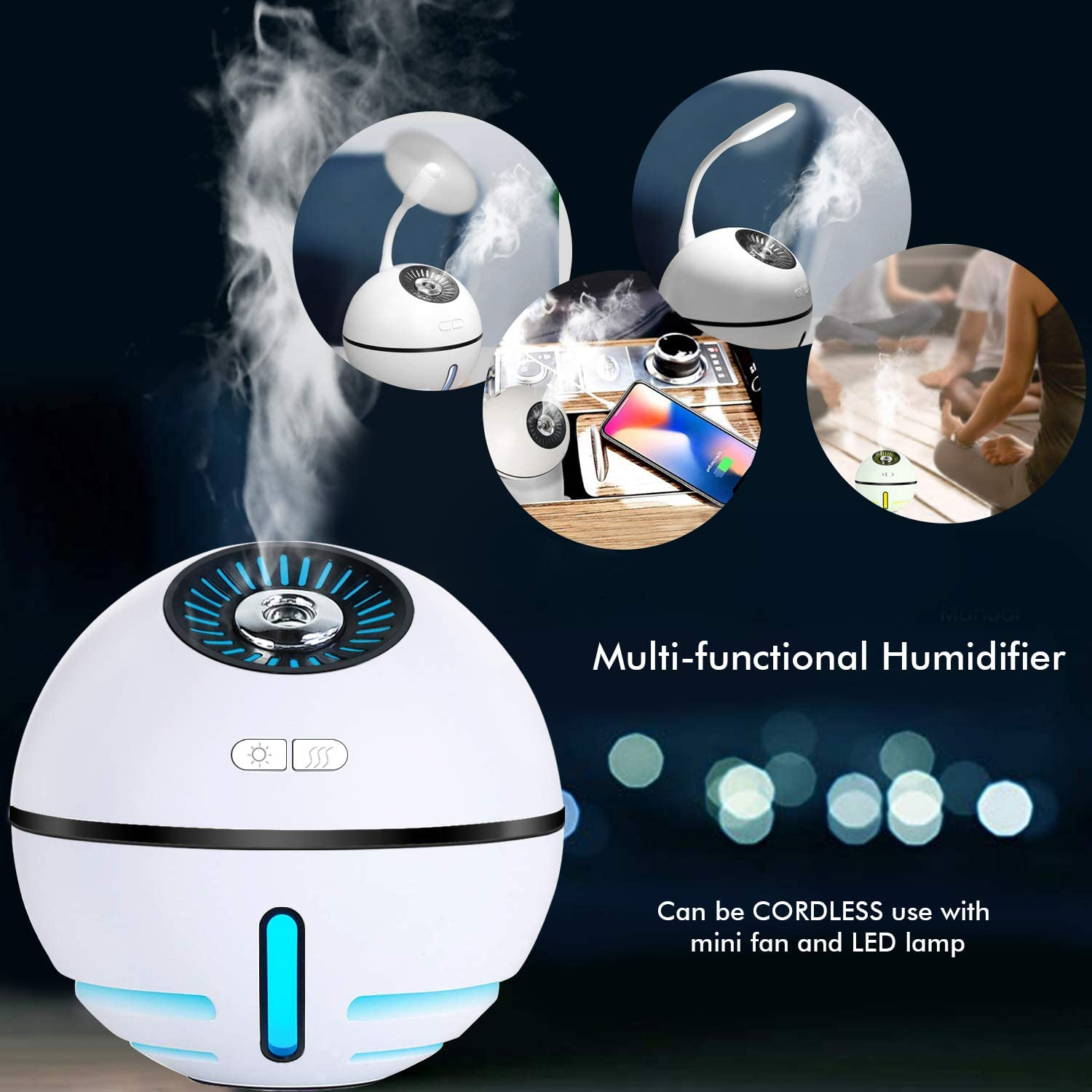 Car Personal Humidifier for Home Runs up to 12 Hours White Wireless Humidifier Diffuser for Yoga Office SPA FAMEDY Cordless Humidifier Mini Travel Portable Cool Mist Humidifier Auto Shut-Off