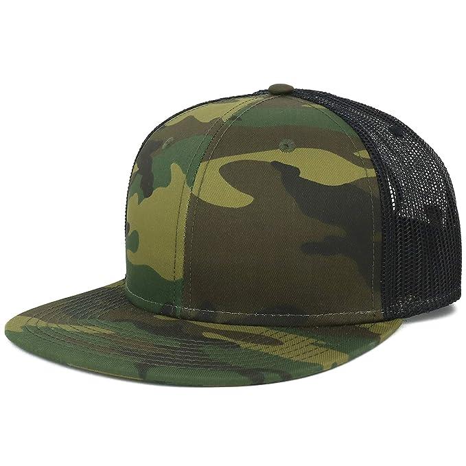 4fea3b38 Armycrew Oversize XXL Blank Camouflage Flatbill Mesh Snapback Cap - Camo  Black - 2XL