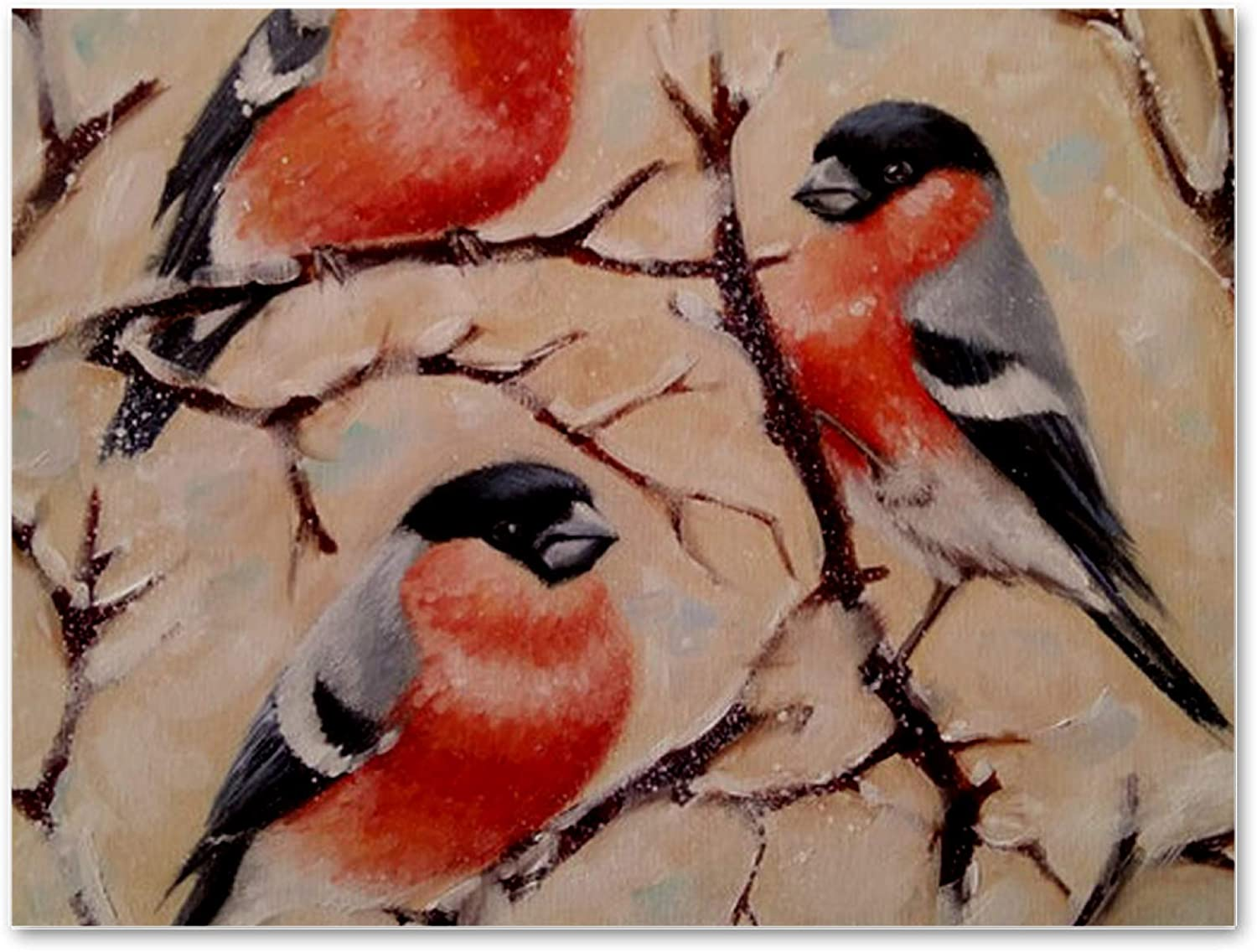 imobaby Oil Painting on Canvas Bullfinch Birds Prints with Wooden Frame for Bedroom Home Living Room Office Modern Wall Art Decor, 11.8x15.7 in