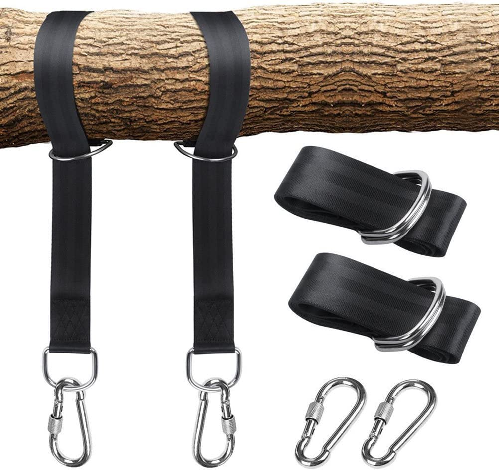LIOOBO Hammock Hanging Straps Tree Swing Hanging Kit Hammock Accessories Two Carabiners Black