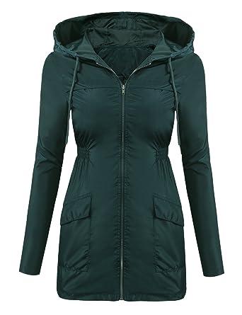e1db8073ae7 Beyove Women s Lightweight Packable Windproof Hooded Jacket Quick Drying  Windbreaker Army Green S