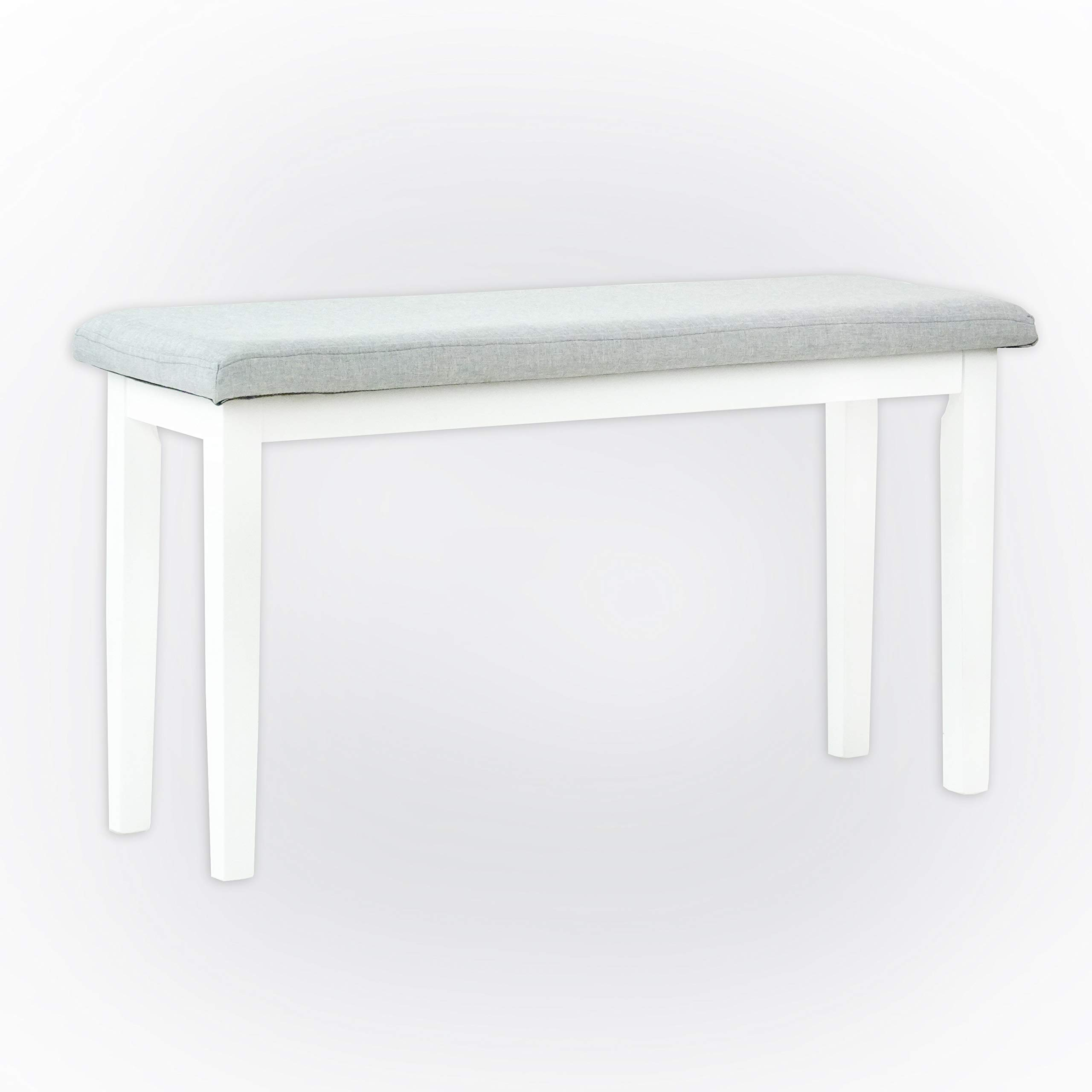 SunBear Furniture Dining Kitchen Solid Wooden Stained Bench Padded Seat White Finish